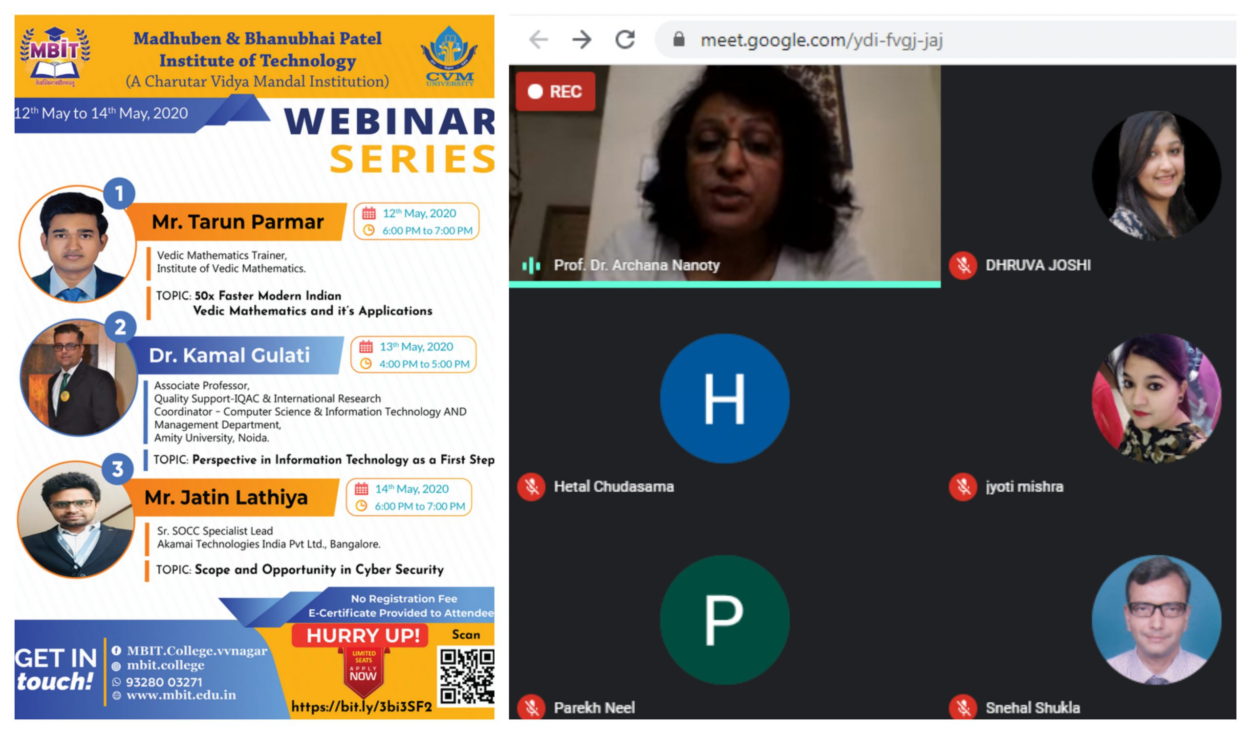 Series of Webinar organized during 12th May 2020 to 14th May 2020