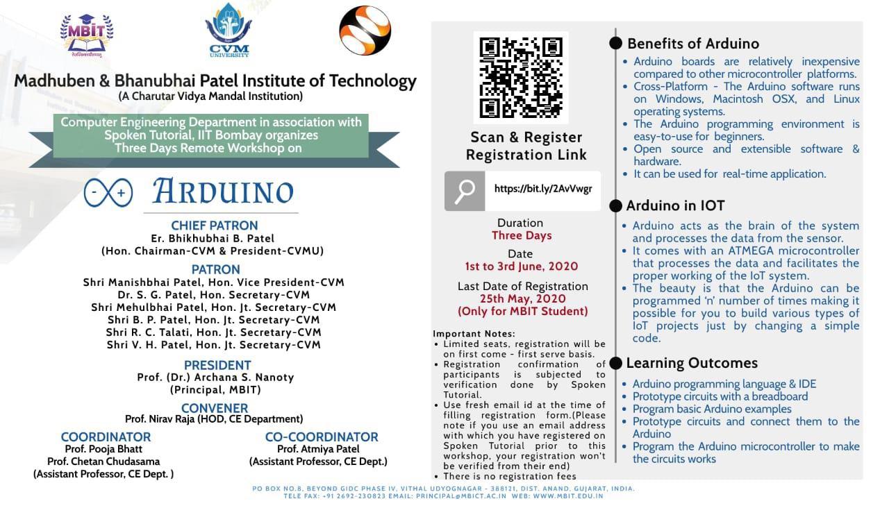 """Three days remote workshop on """"Arduino"""""""